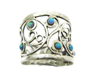 Wide silver ring. Opal silver ring. Silver ring. Sterling silver ring. Silver opal ring. Wide opal ring. Opal jewelry. (sr9700-845)