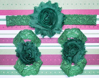 All Green Christmas barefoot sandals with headband