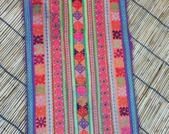 "Vintage Hmong Fabric - Vintage Cross-Stitch Fabric - Hand Embroidered - Hmong Hill Tribe - Tribal Fabric - Asian Fabric - 19"" x 8.5 """