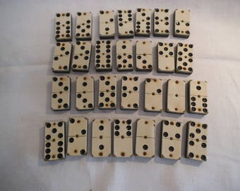 Vintage Set of Wooden Dominoes - In Original Wooden Slide Top Box