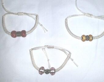 crochet beaded adjustable bracelet
