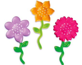 24 Flower #2 Cupcake Picks Cake Toppers Garden Party Summer Decorations