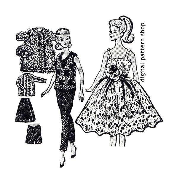 Barbie Knitting Pattern Vintage Barbie Doll Clothes Pattern