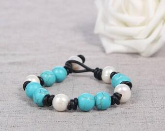 Leather pearl bracelet, Pearl leather bracelet, Leather turquoise bracelet, Pearl turquoise Bracelet, Pearl bracelet,Turquoise Bracelet