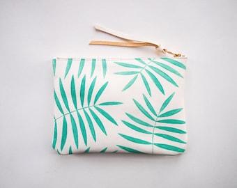 White Mint Palm Leaf Leather Zipper Clutch