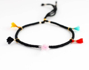 Friendship Bracelet, String Bracelet, Rainbow Tassel Bracelet, Best Friend Gift, Gift for Friend, Gift for Women, Stocking Stuffer