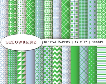 Kelly Green and Pastel Blue Digital Paper Pack, Scrapbook Papers, 24 jpg files 12 x 12 - Instant Download - DP189
