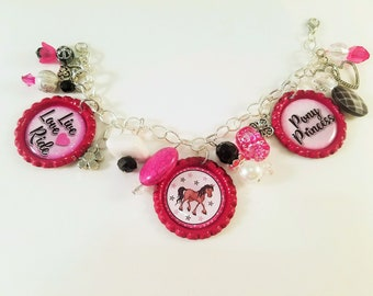 Pony Princess Bottlecap Charm Bracelet Dangle Horse Bracelet