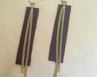Brown Leather Bar Earrings with Chains