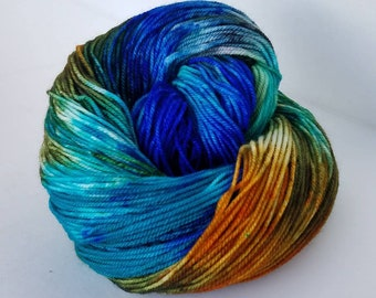 Starry Night, Hand Painted Indie Dyed Yarn, Dyed to Order