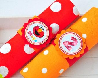 Elmo Napkin Rings, Personalized Napkin Rings, Elmo Birthday Party - Set of 10