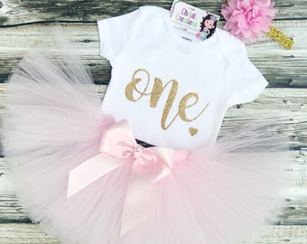 First Birthday Outfit Girl - Pink and Gold 1st Birthday Outfit - Pink and Gold Tutu - Pink Gold Birthday - Cake Smash Outfit