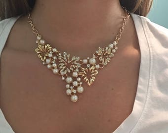 Pearl and rhinstone statement necklace