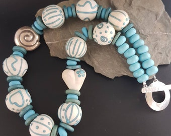 Handmade Lampwork Necklace - Turquoise and Ivory