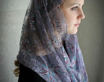 Evintage Veils~ Mary, Star of the Sea (Stella Maris) Jeweled  Embroidered Lace Chapel Veil Mantilla Infinity Veil Latin Mass
