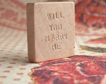 Will You Marry Me .. Vintage Blank Scrabble Tile .. Hand stamped .. Awesome unique marriage proposal .. engraved keepsake memento newlywed