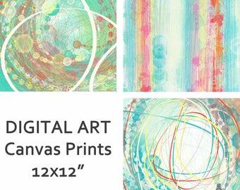 Digital Art canvas prints. Original abstract digital art created on my ipad. 3 designs available