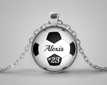 Soccer Pendant Necklace, Personalized Gift, Soccer Mom, Player Team Gift, Coach Gift, Player's Number, Name
