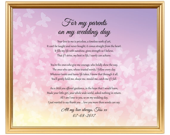 Wedding Gift Poems: Wedding Gift Poem From Bride To Parents Poem Gift To Mom