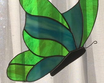 Green Stained Glass Butterfly Profile