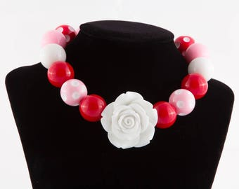 Sweetheart Red, Pink and White Chunky Bead Necklace Photography Prop Special Occasion Gift