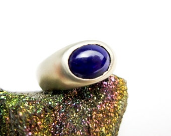 Sugilite/ Lavulite Ring 14K, Genuine 5ct. Signet, Mat Gray Gold Finish, Handcrafted, ca. 1990 by Tampico S.F.
