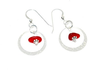 Sea Glass Earrings, Red Glass Earrings, Sea Glass Gift, Sea Glass Hoop Earrings, Sea Glass Jewelry,  Mothers Day Gift, Beach