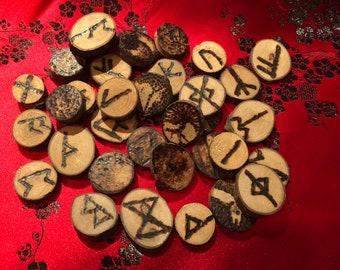 Runes: Set of 35.  Wood-burned by hand