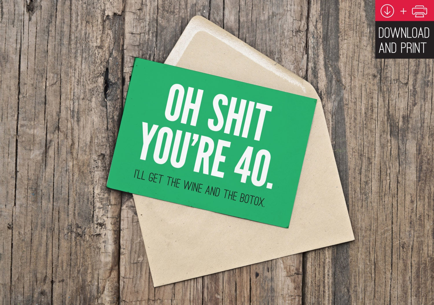 40th birthday card funny birthday instant download zoom bookmarktalkfo Image collections