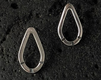 Sterling silver teardrop earrings - hammered teardrop studs - oxidized silver earrings - minimalist earrings - artisan