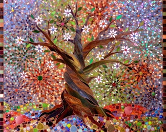 Tree of Light Giclee Print - Mosaic Tree of Light Tree of Life Art - Mosaic Art - Stained Glass Tree - Autumn Tree Print - Tree Wall Decal