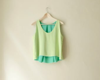 Lime and Green Tank Top, Reversible Asymmetrical Hem Top, Double Sided Summer Top, Customize Colors