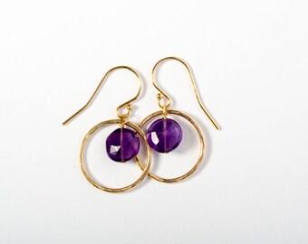 Amethyst Jewelry, Amethyst Earrings, Hoop Earrings, Gold Hoop Earrings, Delicate Gold Earrings, Purple Earrings, Gift for Best Friend, Gold