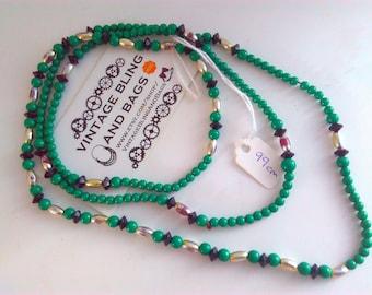 99cm vintage necklace, plastic necklace, vintage bead necklace, green necklace, green beads, long vintage necklace, long green bead necklace