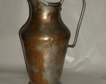 Vintage  16 3/4 Inch  Hand Forged Tinned Copper  Ewer Pitcher