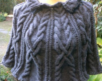 Knit Cape with stand-ruffle collar, gray, GR 36-38 (S M), UK 10-12, US 8-10
