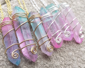 Pastel Cotton Candy Quartz Crystal Necklaces - Wire Wrapped Wrap Pink Aqua Blue Pastel Goth Grunge Fairy Kei Pop Unicorn Kawaii