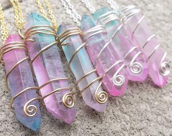 Pastel Cotton Candy Quartz Crystal Necklaces - Wire Wrapped Wrap Pink Aqua Blue Pastel Goth Grunge Fairy Kei Pop Unicorn Kawaii