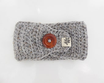 Crochet Textured Headband with Button / Grey