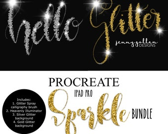 Procreate Brushes iPad Pro Glitter Spray Calligraphy Brush Bundle
