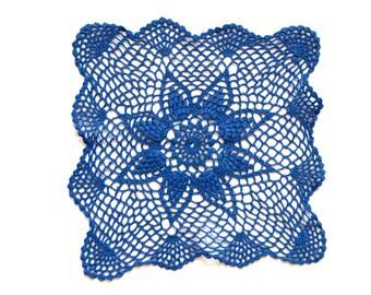 Blue Crochet Doily Vintage hand dyed Doily