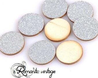 10 cabochons pastilles wooden fine silver glitter 20mm