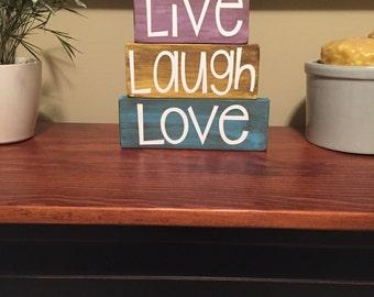 Live Laugh Love Wood Block Stacker Set Home Decor Sign