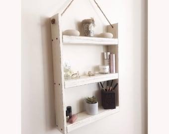 Rope hanging wood shelf - bathroom shelf- rustic shelf - spice rack - kitchen shelf - farmhouse decor -  bathroom storage