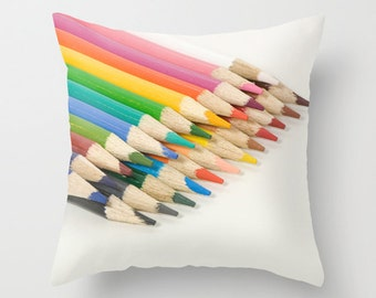 Colorful Pillow Cover, Teacher Appreciation Gift, Gift for Artists, Rainbow Pencil Crayons Accent, White Home Decoration, Sofa Cushion Decor