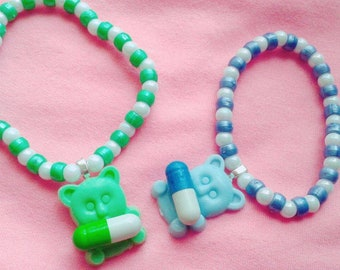 Menhera teddy bear bracelets! fairy kei pastel pills medical cute