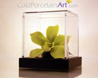 Green Cymbidium Orchid - Cold Porcelain Art - Made to Order