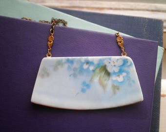 Broken China Jewelry Vintage China Bar Necklace - Antique Forget Me Not Blue Flowers Broken Plate Pendant Gift - Retro Floral Necklace