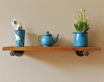 Reclaimed pine shelf with industrial brackets
