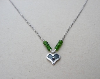 Chrome diopside and sterling silver heart charm necklace